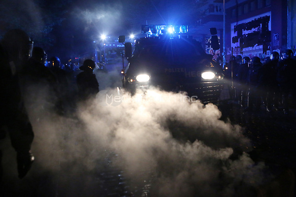 A police vehicle in operation during demonstrations against the G20 summit in Hamburg, Germany, 6 July 2017. The summit, a meeting of the governments of the twenty largest world economies, begins on the 7 July and concludes on the 8 July. Photo: Bodo Marks/dpa /MediaPunch ***FOR USA ONLY***