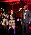 "Kirsten Wyatt and Donald Webber Jr. on stage during a Song preview performance of the BeBe Winans Broadway Bound Musical ""Born For This"" at Feinstein's 54 Below on November 5, 2018 in New York City."