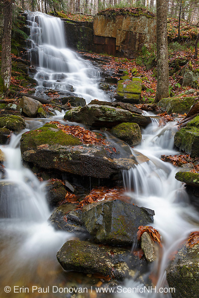 Rollo Fall along the Moose River in Randolph, New Hampshire USA during the autumn months. At one time, Lowe's Path traveled by this small waterfall, but the trail was rerouted away from it.