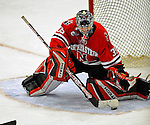 19 January 2008: Northeastern University Huskies' goaltender Brad Thiessen, a Sophomore from Aldergrove, British Columbia, makes a save against the University of Vermont Catamounts at Gutterson Fieldhouse in Burlington, Vermont. The Catamounts defeated the Huskies 5-2 to close out their 2-game weekend series...Mandatory Photo Credit: Ed Wolfstein Photo