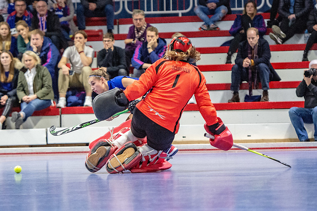 Mannheim, Germany, January 03: During the 1. Bundesliga women indoor hockey match between TSV Mannheim and Mannheimer HC on January 3, 2020 at Primus-Valor Arena in Mannheim, Germany. Final score 4-4. (Photo by Dirk Markgraf / www.265-images.com) *** Friederike Schreiter #1 of TSV Mannheim, Isabella Schmidt #31 of Mannheimer HC