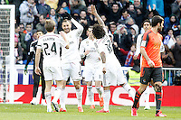 Real Madrid's Asier Illarramendi, Karim Benzema, Garet Bale and Marcelo Vieira celebrate goal during La Liga match.January 31,2015. (ALTERPHOTOS/Acero) /NortePhoto<br />
