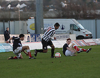 Mo Yaqub gets the better of Conor Hogg (left) and Scott Shepherd at the Falkirk v St Mirren  Scottish Football Association Youth Cup 4th Round match played at the Falkirk Stadium, Falkirk on 16.12.12.