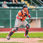 4 September 2017: Tri-City ValleyCats catcher Gabriel Bracamonte in action during the second game of a double-header against the Vermont Lake Monsters at Centennial Field in Burlington, Vermont. The ValleyCats split their games, winning 6-5 in the first, then dropping the second 7-4 to the Lake Monsters in NY Penn League action. Mandatory Credit: Ed Wolfstein Photo *** RAW (NEF) Image File Available ***