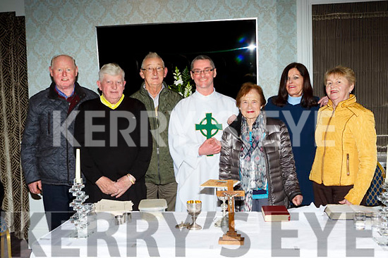 Fr Niall Howard with residents from Dromhall at the Station mass in the Dromhall Hotel on Thursday night l-r: John Mannix, Tadhg Fleming, Jim Cronin, Ann e Healy, Christine McSweeney and Christina Mannix
