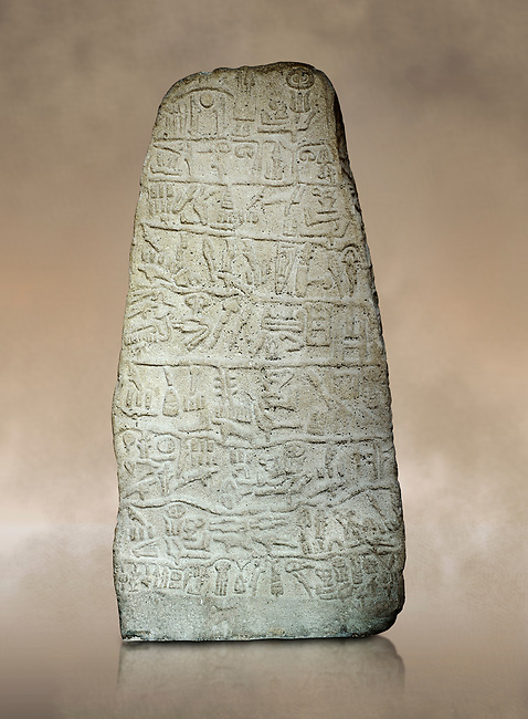 Neo Hittite Period Hieroglyphic inscription on a stone orthostat - Anatolian Civilisations Museum, Ankara, Turkey.