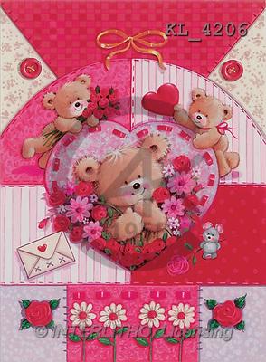 Interlitho, Arthur, VALENTINE, paintings, 3 bears, mouse, letter(KL4206,#V#) illustrations, pinturas ,everyday