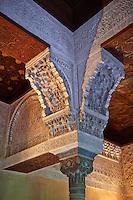 Detailof the Arabesque Moorish architectural pillar capital in the Mexuar administrative rooms in the Palacios Nazaries. Alhambra, Granada, Andalusia, Spain.
