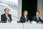 (L to R) Toyota Motor Corp. Senior managing officer Nobuhiko Murakami, President and CEO Akio Toyoda and Executive Vice President Osamu Nagata, attend a press conference on May 10, 2017, Tokyo, Japan. Toyota Motor Corp. announced its annual financial results for the fiscal year which ended March 31, 2017. The results saw net profits fall for first time in five years. (Photo by Rodrigo Reyes Marin/AFLO)