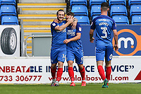 Jack Marriott of Peterborough United celebrates after he scores the opening goal of the game during the Sky Bet League 1 match between Peterborough and Oxford United at the ABAX Stadium, London Road, Peterborough, England on 30 September 2017. Photo by David Horn.