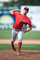 Williamsport Crosscutters pitcher Jonathan Musser #40 during a NY-Penn League game against the Batavia Muckdogs at Dwyer Stadium on August 26, 2012 in Batavia, New York.  Batavia defeated Williamsport 7-1.  (Mike Janes/Four Seam Images)