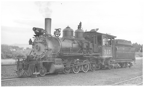 3/4 fireman's-side view of D&amp;RGW #315 in yard.<br /> D&amp;RGW