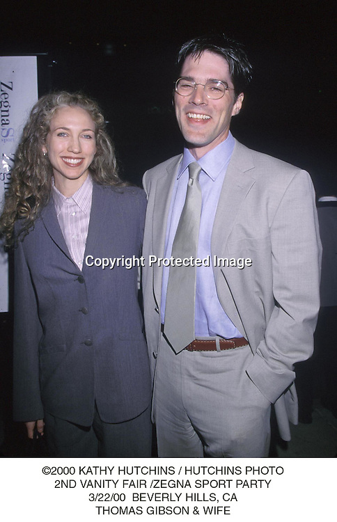 ©2000 KATHY HUTCHINS/HUTCHINS PHOTO.2ND VANITY FAIR/ZEGNA SPORT PARTY.3/22/00 BEVERLY HILLS, CA.THOMAS GIBSON &WIFE