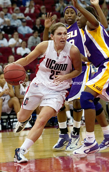 FRESNO, CA. 26 March 2007-032607SV13--#25 Mel Thomas of UConn drives under he hoop against LSU  during the elite eight round of the NCAA tournament at the Save Mart Center in Fresno, CA. Monday.<br /> Steven Valenti Republican-American