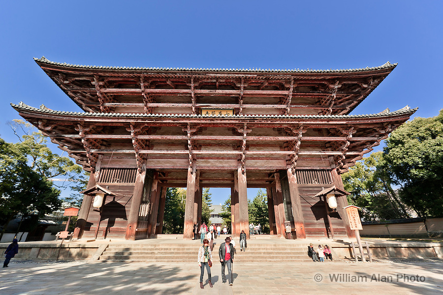 Toudaiji (Toudai Temple) originally built in 728 but damaged by fire and rebuilt in 1700. Nara Japan