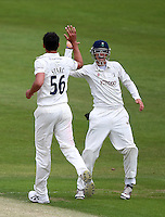 PICTURE BY VAUGHN RIDLEY/SWPIX.COM - Cricket - County Championship, Div 2 - Yorkshire v Northamptonshire, Day 1  - Headingley, Leeds, England - 20/05/12 - Yorkshire's Mitchell Starc celebrates bowling Northamptonshire's Alex Wakely with Joe Root.