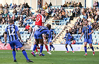 Fleetwood Town's Paddy Madden heads at goal<br /> <br /> Photographer Andrew Kearns/CameraSport<br /> <br /> The EFL Sky Bet League One - Gillingham v Fleetwood Town - Saturday 3rd November 2018 - Priestfield Stadium - Gillingham<br /> <br /> World Copyright © 2018 CameraSport. All rights reserved. 43 Linden Ave. Countesthorpe. Leicester. England. LE8 5PG - Tel: +44 (0) 116 277 4147 - admin@camerasport.com - www.camerasport.com