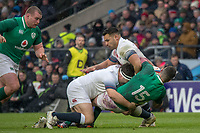 Twickenham, United Kingdom.   Natwest 6 Nations : England vs Ireland. Rob Kearney knocked back by Jamie George, tackle with Ben TE'O   at the  RFU Stadium, Twickenham, England, <br />