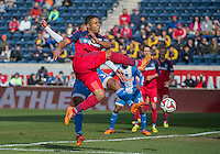 Bridgeview, IL. - Saturday April 5, 2014: The Chicago Fire and Philadelphia Union played to a 2-2 draw during a Major League Soccer (MLS) game at Toyota Park.