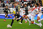 Rayo Vallecano´s Ze Castro and Malaga CF´s Samuel Castillejo during 2014-15 La Liga match between Rayo Vallecano and Malaga CF at Rayo Vallecano stadium in Madrid, Spain. March 21, 2015. (ALTERPHOTOS/Luis Fernandez)