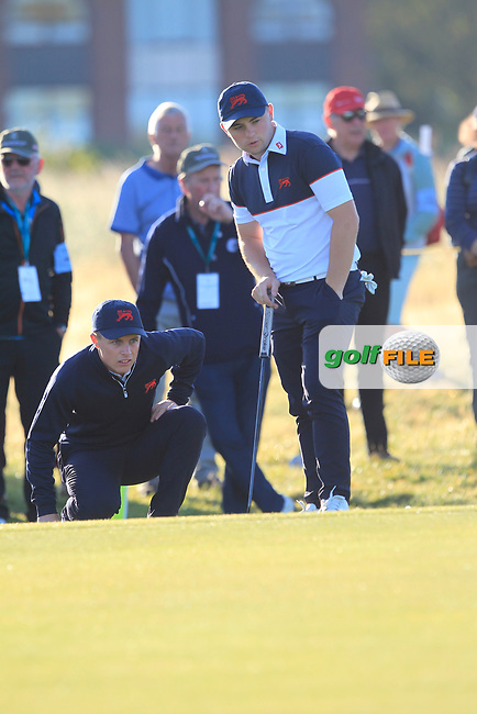 Conor Purcell (GB&I) and Alex Fitzpatrick (GB&I) on the 1st during Day 2 Foursomes of the Walker Cup, Royal Liverpool Golf CLub, Hoylake, Cheshire, England. 08/09/2019.<br /> Picture Thos Caffrey / Golffile.ie<br /> <br /> All photo usage must carry mandatory copyright credit (© Golffile   Thos Caffrey)