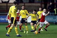 Oxford United's Cameron Brannagan passes under pressure from Fleetwood Town's Paddy Madden<br /> <br /> Photographer Rich Linley/CameraSport<br /> <br /> The EFL Sky Bet League One - Fleetwood Town v Oxford United - Saturday 12th January 2019 - Highbury Stadium - Fleetwood<br /> <br /> World Copyright &copy; 2019 CameraSport. All rights reserved. 43 Linden Ave. Countesthorpe. Leicester. England. LE8 5PG - Tel: +44 (0) 116 277 4147 - admin@camerasport.com - www.camerasport.com