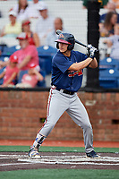 Danville Braves left fielder Andrew Moritz (25) at bat during a game against the Johnson City Cardinals on July 28, 2018 at TVA Credit Union Ballpark in Johnson City, Tennessee.  Danville defeated Johnson City 7-4.  (Mike Janes/Four Seam Images)