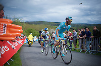 Michele Scarponi (ITA/Astana) & Johan Esteban Chaves (COL/Orica-GreenEDGE) are the race leaders coming up La Redoute (1650m/9.7%)<br /> <br /> 101th Liège-Bastogne-Liège 2015