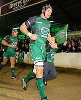 4th January 2014; Connacht captain, Craig Clarke, leads his team onto the pitch with mascot Darragh Conneely, aged 12, from Corrib RFC. Rabodirect Pro12, Connacht v Leinster, Sportsground, Galway. Picture credit: Tommy Grealy/actionshots.ie.