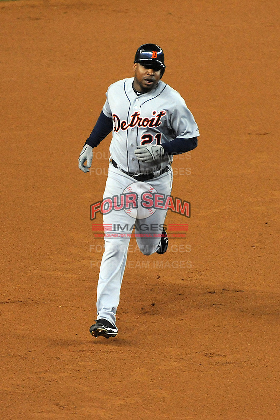 Detroit Tigers outfielder Delmon Young #21 hits a homerun during ALDS game #5 against the New York Yankees at Yankee Stadium on October 06, 2011 in Bronx, NY.  Detroit defeated New York 3-2 to take the series 3 games to 2 games.  Tomasso DeRosa/Four Seam Images