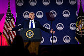 United States President Donald J. Trump delivers remarks at Values Voter Summit at the Omni Shoreham Hotel on October 12, 2019 in Washington, DC. The appearance at the Summit comes as evangelical leaders this week criticized Trump's decision to stand down US forces in northern Syria.   <br /> Credit: Pete Marovich / Pool via CNP