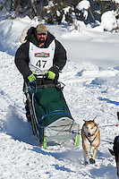 Kirk Barnum on Long Lake at the Re-Start of the 2012 Iditarod Sled Dog Race