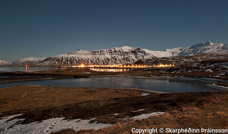 Grundarfjörður at night, Snæfellsnes peninsula, west Iceland