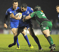 4th January 2014; Rob Kearney, Leinster, is tackled by Jason Harris-Wright, Connacht. Rabodirect Pro12, Connacht v Leinster, Sportsground, Galway. Picture credit: Tommy Grealy/actionshots.ie.