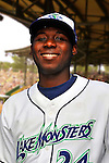 24 June 2008: Vermont Lake Monsters outfielder Jesus Valdez. Baseball Card Image for 2008. For in-house use by the Vermont Lake Monsters Only. Editorial or other use of images by other publications or media outlets must secure licensing from the photographer Ed Wolfstein prior to publication, and is based on standards of circulation, and placement in a given publication...Mandatory Credit: Ed Wolfstein.
