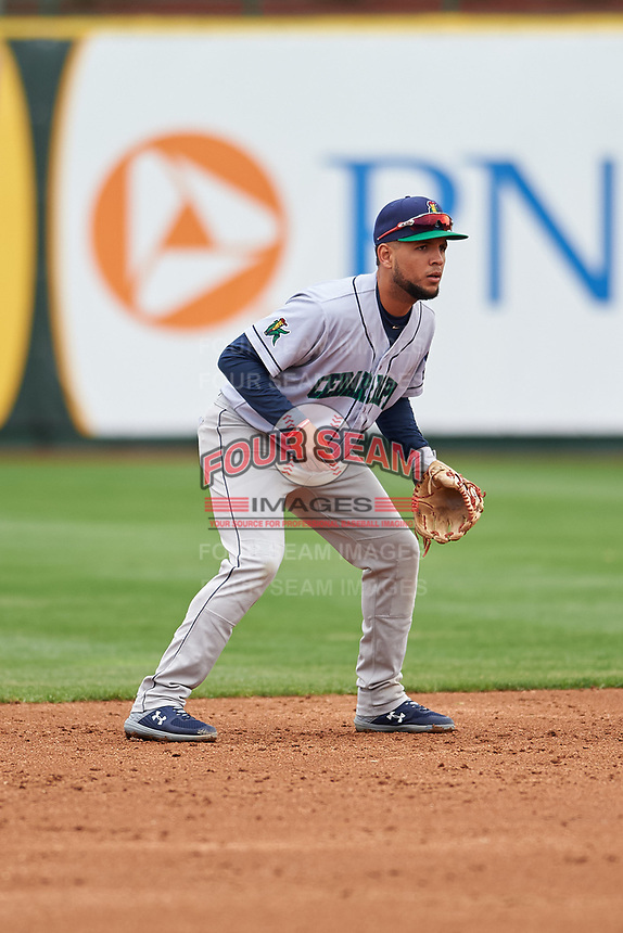 Cedar Rapids Kernels second baseman Estamy Urena (13) during a Midwest League game against the South Bend Cubs at Four Winds Field on May 8, 2019 in South Bend, Indiana. South Bend defeated Cedar Rapids 2-1. (Zachary Lucy/Four Seam Images)
