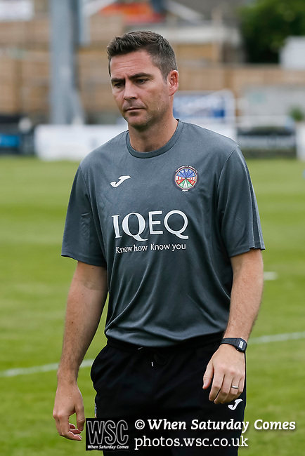 James Scott, Jersey Manager. Yorkshire v Parishes of Jersey, CONIFA Heritage Cup, Ingfield Stadium, Ossett. Yorkshire's first competitive game. The Yorkshire International Football Association was formed in 2017 and accepted by CONIFA in 2018. Their first competative fixture saw them host Parishes of Jersey in the Heritage Cup at Ingfield stadium in Ossett. Yorkshire won 1-0 with a 93 minute goal in front of 521 people. Photo by Paul Thompson