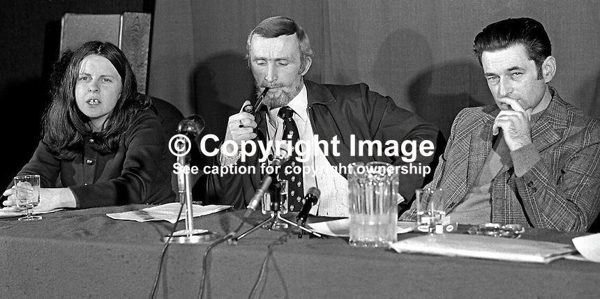 IRSP, Irish Republican Socialist Party, press conference, N Ireland, April 1975. From left: Bernadette McAliskey, previously Bernadette Devlin, James McCorry and Seamus Costello. 197504000330b<br />