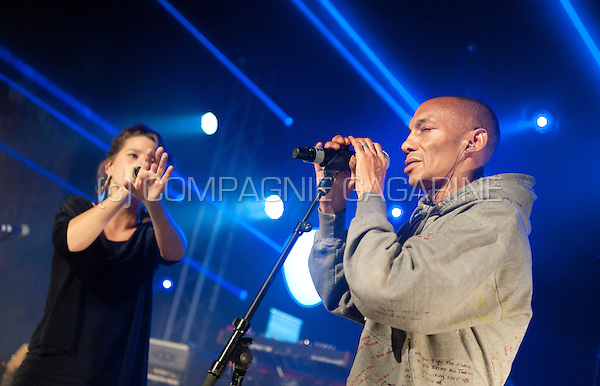 English producer and vocalist Tricky performing with Belgian singer Selah Sue at the Radio 1 Sessies, in Antwerp (Belgium, 18/11/2015)