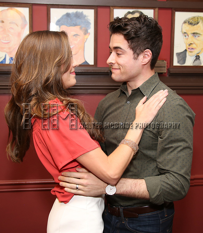 Laura Osnes and Corey Cott during the Corey Cott Sardi's Portrait unveiling at Sardi's Restaurant on August 11, 2017 in New York City.