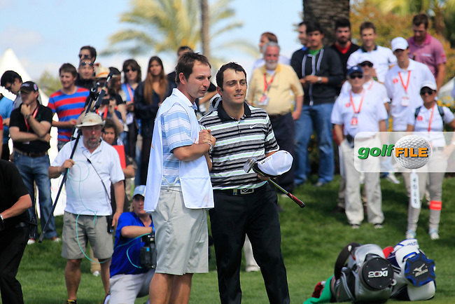 Francesco Molinari (ITA) finishes his match on -8 to win the tournament on the 18th green during Sunday's Final Round of the Open de Espana at Real Club de Golf de Sevilla, Seville, Spain, 6th May 2012 (Photo Eoin Clarke/www.golffile.ie)