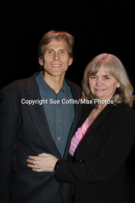 """Guiding Light Grant Aleksander """"Brutus"""" posing with wife Sherry Ramsey stars in """"Eve of Ides"""" a part of Lend Us Your Ears Play Reading Series on March 12, 2012 at the Shakespeare Theatre of New Jersey, Madison, New Jersey.  (Photo by Sue Coflin/Max Photos)"""