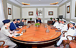 Egyptian President Abdel Fattah al-Sisi chairs a meeting with security chiefs in Cairo, Egypt, on October 22, 2017. Photo by Egyptian President Office