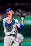 20 May 2018: Los Angeles Dodgers pitcher Josh Fields gives thanks after closing out the game against the Washington Nationals at Nationals Park in Washington, DC. The Dodgers defeated the Nationals 7-2, sweeping their 3-game series. Mandatory Credit: Ed Wolfstein Photo *** RAW (NEF) Image File Available ***