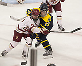 Haley McLean (BC - 13), Mikyla Grant-Mentis (Merrimack - 13) - The number one seeded Boston College Eagles defeated the eight seeded Merrimack College Warriors 1-0 to sweep their Hockey East quarterfinal series on Friday, February 24, 2017, at Kelley Rink in Conte Forum in Chestnut Hill, Massachusetts.The number one seeded Boston College Eagles defeated the eight seeded Merrimack College Warriors 1-0 to sweep their Hockey East quarterfinal series on Friday, February 24, 2017, at Kelley Rink in Conte Forum in Chestnut Hill, Massachusetts.