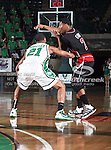 North Texas Mean Green guard Shannon Shorter (21) defends Arkansas State Red Wolves guard Trey Finn (2) during the NCAA  basketball game between the Arkansas State Red Wolves and the University of North Texas Mean Green at the North Texas Coliseum,the Super Pit, in Denton, Texas. UNT defeated Arkansas State 83 to 64..