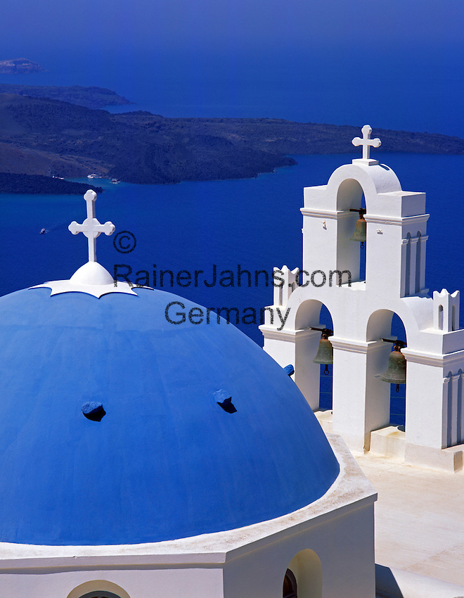 Greece; Cyclades; Santorini; Firostefani: blue and white church and island Nea Kameni