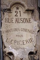 Europe/France/Aquitaine/33/Gironde/Bordeaux: Enseigne d'une épicerie rue Ausone
