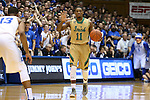 16 January 2016: Notre Dame's Demetrius Jackson (11) and Duke's Matt Jones (13). The Duke University Blue Devils hosted the University of Notre Dame Fighting Irish at Cameron Indoor Stadium in Durham, North Carolina in a 2015-16 NCAA Division I Men's Basketball game. Notre Dame won the game 95-91.