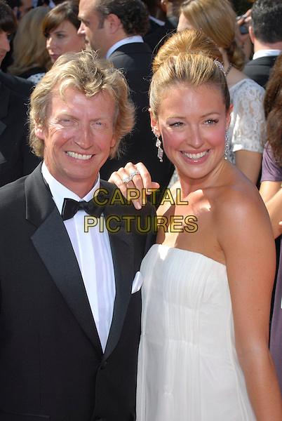 NIGEL LYTHGOE & CAT DEELEY.59th Annual Primetime Emmy Awards held at the Shrine Auditorium, Los Angeles, California, USA..September 16th, 2007.half length white strapless dress black tuxedo jacket bow tie .CAP/ADM/CH.©Charles Harris/AdMedia/Capital Pictures.